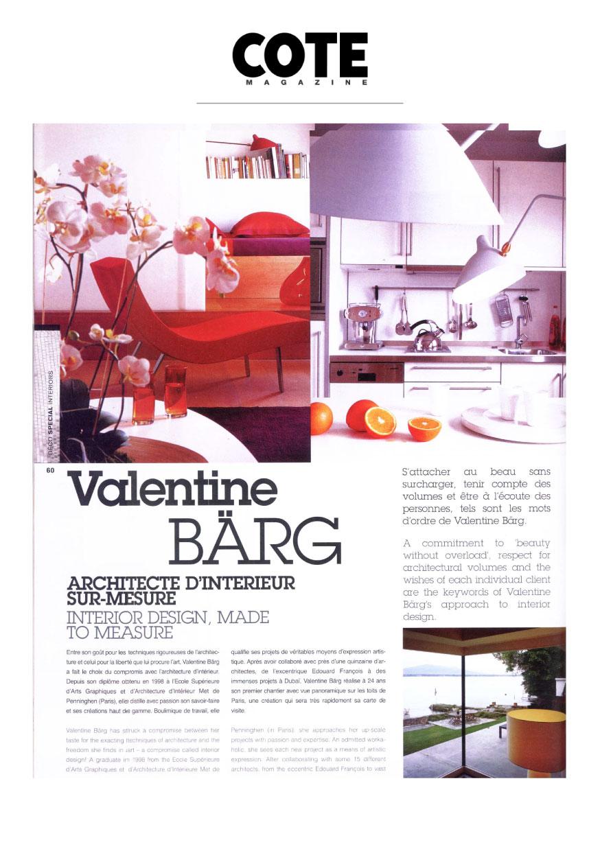 Valentine Bärg Architectures Cote Magazine Spécial Déco