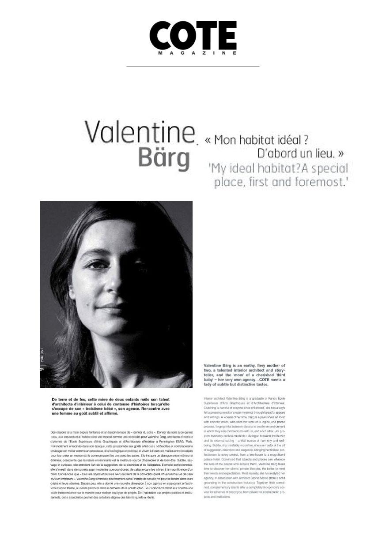 Valentine Bärg Architectures Genève La COTE Magazine Édition 23